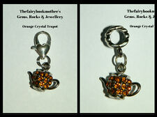 EUROPEAN OR LOBSTER CLASP CLIP ON STYLE ORANGE CRYSTAL TEAPOT DROP DANGLE CHARMS