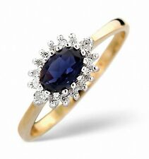 9K Gold 0.14ctw Diamond & Sapphire Oval Cluster Ring Sizes F - Z Made in London