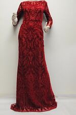 New Marchesa Notte Red Velvet Cut out sequin-embellished tulle Dress Gown 2