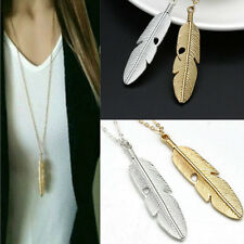 Women Vintage Feather Pendant Long Chain Necklace Sweater Statement Jewelry gift
