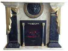 Electric Fireplace marble effect with versace logo in a range of colours