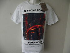*NEW* AMPLIFIED THE STONE ROSES FOOLS GOLD SLEEVE ART WHITE MENS T SHIRT SIZE L