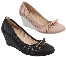 WOMENS WEDGE MID HIGH HEEL PERFORATED SMART CASUAL WORK SLIP OFFICE COURT SHOES
