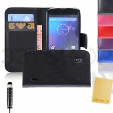 PU Wallet Leather Case Cover For LG Google Nexus 4 E960+ Screen Protecto +Stylus