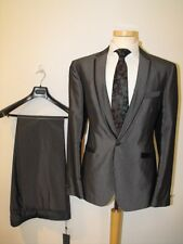 JOHN VARVATOS Mainline Glossy Grey Cotton & Silk Slim Fitted Suit RRP: £1,200