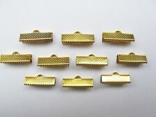 10 20mm GP gold plated ribbon end clamps clasps findings for beads dimpled