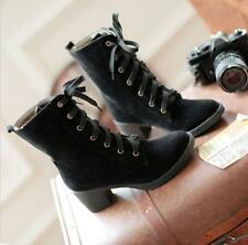 Ladies Fashion Ankle Boots Autumn Faux Suede High Heels Lace Up Shoes Boots New