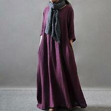 Vintage Womens Long Dress Ladies Retro Maxi Loose Cotton Linen Gown Kaftan