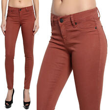 TheMogan Colored Ankle Stretch Skinny Jeans Pencil Pants in Brick