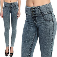 TheMogan Dark Acid Washed High Waisted 3 Button Front Ankle Skinny Jeans