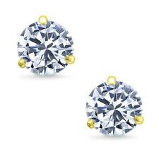 Martini Round Brilliant Cut CZ  Sterling Silver 14k Yellow Gold Stud Earrings