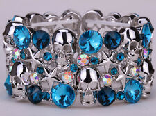 Skull star stretch bracelet W crystal women biker bling jewelry D03 silver tone