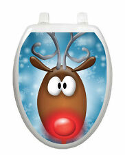 Rudy Toilet Tattoo - Removable and Reusable Bathroom Christmas Decoration