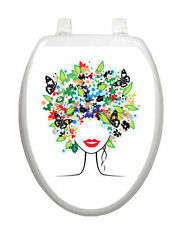 Spring Lady Toilet Tattoo  Removable Reusable Bathroom Christmas Decoration