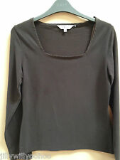 RRP £29 LADIES EAST SIZE 10 BROWN SOFT ORGANIC COTTON STRETCH TOP FREE POSTAGE