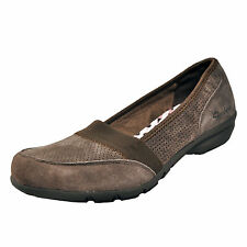 Skechers Executive Memory Foam Womens Suede Leather Slip On Shoes Brown