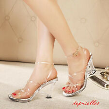 Size Womens Sexy Clear Transparent Lady's Star High Heels Strappy Sandals Shoes