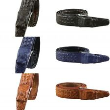 Crocodile-Embossed Alligator Belt Strap Buckle Genuine Cow Leather Men Waistband