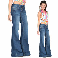 60s 70s Retro Blue Faded Bell Bottoms Hippy Denim Flares Wide Flared Jeans Pants