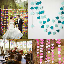 1pc Heart Wedding Paper Bunting Banner Photo Props Party Hanging Decoration 4m