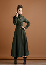 FASHION Womens double-breasted Long Full length Military Outwear Dress Coat 2016