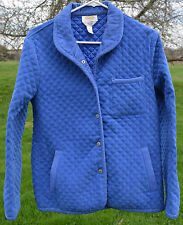 "VTG Womens Talbots Cornflower Blue Quilted Jacket Shirt S Cord Collar 40"" Bust"