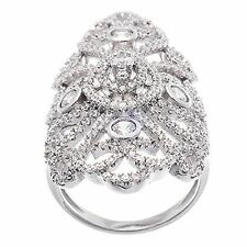Pave Vintage Open Lace CZ Knuckle Sterling Silver Ring-Bridal-Band-925