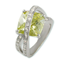 6CTW Rhodium Ring With 12mm Square Peridot CZ and 22 1.35mm Pave Round White CZs