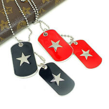 Fashion Army Style Double DOG TAG Silver Stainless Steel Chain Pendant Necklace