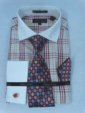 Men's Dress Shirt Tie Set Brown/Red Plaid Ivory Collar Cuff Links French Cuff