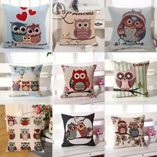 Hot Cute Floral Owls Pillow Case Bedroom Sofa Pillowslip Square Cushion Cover