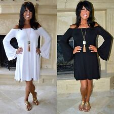 WHITE-BLACK Off Shoulder BOHO Long Bell Sleeve Flowy Knit Swing Dress Tunic S-L