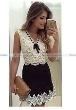 Short Mini DressBeautiful Ladys Sleeveless Lace Casual Party  No accessories