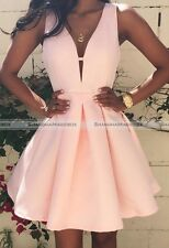 New Sexy Women  Pleated Backless Cut Out Deep V Neck Party Prom Mini Dress S8