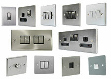 Flat Brushed Chrome Stainless Steel Switch Socket Gang Dimmer DP Amp Phone