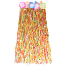 MULTI-COLOURED LONG HULA SKIRT 80CM WITH FLOWER WAISTBAND HAWAIIAN FANCY DRESS