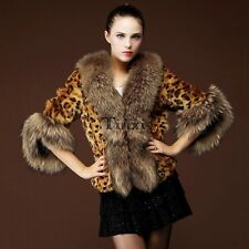 Luxury Women's Winter Warm Leopard Faux Fur Collar Coat Jacket Parka TXWD