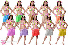 6 PC HULA SET LEI WRISTBANDS HEADBAND BRA + GRASS SKIRT HAWAIIAN FANCY DRESS