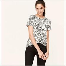 NWT Ann Taylor Loft Sketched Floral Tee T Shirt Top  $29.50