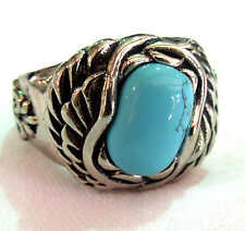 man's stainless steel blue turquoise ring large size 15,16,17,18