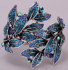 Leaf bangle bracelet bling jewelry antique gold silver plated W crystal D19
