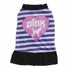 "New Cute Fancy Dress ""Pink Dog"" for Small Pets Clothes Stripes Skirt Purple"