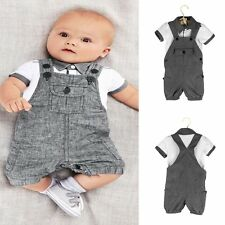 2pcs Infant Kids Baby Toddler Boy clothes T shirt+Rompers bib pants Set Clothing
