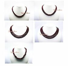 2/3/4/5 LINE MULTI UNTREATED NATURAL REAL GARNET GEMSTONE BUTTON BEADS NECKLACE