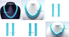 2/3/4/5/6 LINE MULTI TWISTED NATURAL REAL TURQUOISE GEMSTONE ROUND BEAD NECKLACE