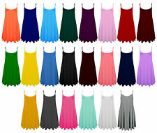 New Womens Sleeveless Long Cami Plain Strappy Swing Vest Camisole Dress Top cmiL