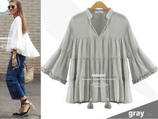 UK lady Casual long sleeves Chiffon V-Neck T Shirt Blouse Loose Tops plus size