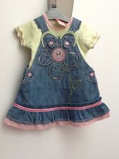 Next Baby girl NWT denim flower daisy Pinafore Dress With matching vest  S3-6m