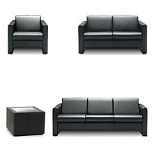 Black Real Leather 1 / 2 / 3 Aries Seater Office Reception Sofa & Tables Sele...