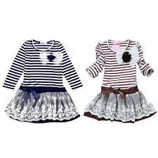 Kids Baby Girls Dress Long Sleeve Lace Princess Party Tulle Tutu Dresses Skirt